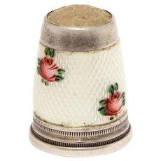 935 Silver Guilloche Enamel Thimble Glass Honeycomb