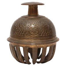 """Temple Bell Indian Elephant Claw Brass, Large 4"""""""