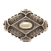Antique Sterling Pin, High Victorian Silver Diamond Shape Brooch, Small Hollow and Very Lightweight, Aesthetic Era