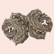 Victorian Sash Belt Buckle, Ornate Antique Silverplated Brass Stampings