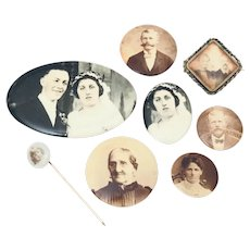 Antique Celluloid Photo Pinback Buttons, Mirror, Stickpin, and Gold Filled Brooch
