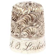 Sterling Simons Embroidery Thimble Size 10, Vermicelli Pattern, Engraved SO Ladies