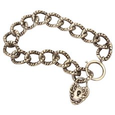Antique Sterling Chain Bracelet with Puffy Heart Lock
