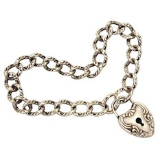 Victorian Revival Sterling Bracelet with Puffy Heart Lock, NO KEY