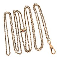 Edwardian Ladies Watch Chain with Small Seed Pearl Slide Gold Filled Lorgnette Holder, Muff Guard