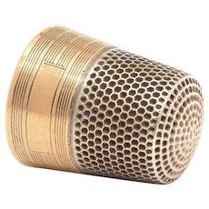 Sterling Thimble Gold Washed Band Ketcham & McDougall, KMD Size 11, KMD