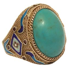 Chinese Silver Ring, Green Turquoise Enamel Gilded Sterling Filigree, Adjustable Size 8 1/2