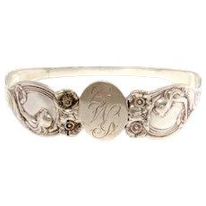 UNGER BROS Sterling Bracelet, Queen of the Flowers Pattern, Repurposed Napkin Ring, Antique Bangle Bracelet, Art Nouveau