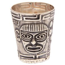 Sterling PERU Thimble with Incan Mask, Tumi Knife, Souvenir of South America