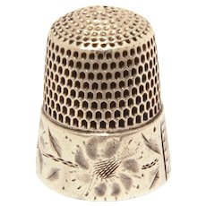 Simons Sterling Thimble Small Size 7, Impressionistic Flower Design