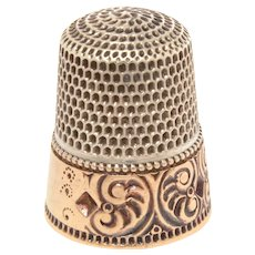 Antique Goldsmith Stern Sterling Thimble with Deeply Engraved Gold Band, Size 8