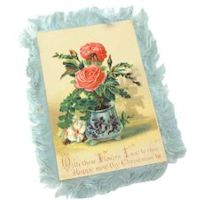 Antique Victorian Christmas Card with Silk Fringe Double Sided Chromolithographs Pink Roses in Flow Blue Pot