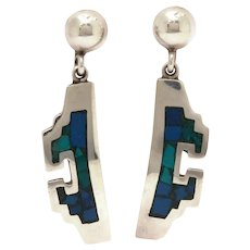 Sterling Taxco Mexico Aztec Design Pierced Dangle Earrings with Inlay