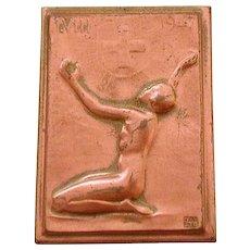 1947 Swiss Red Cross Pin by Medal Sculptor Hans Frei - Huguenin Locle, Bronze Badge
