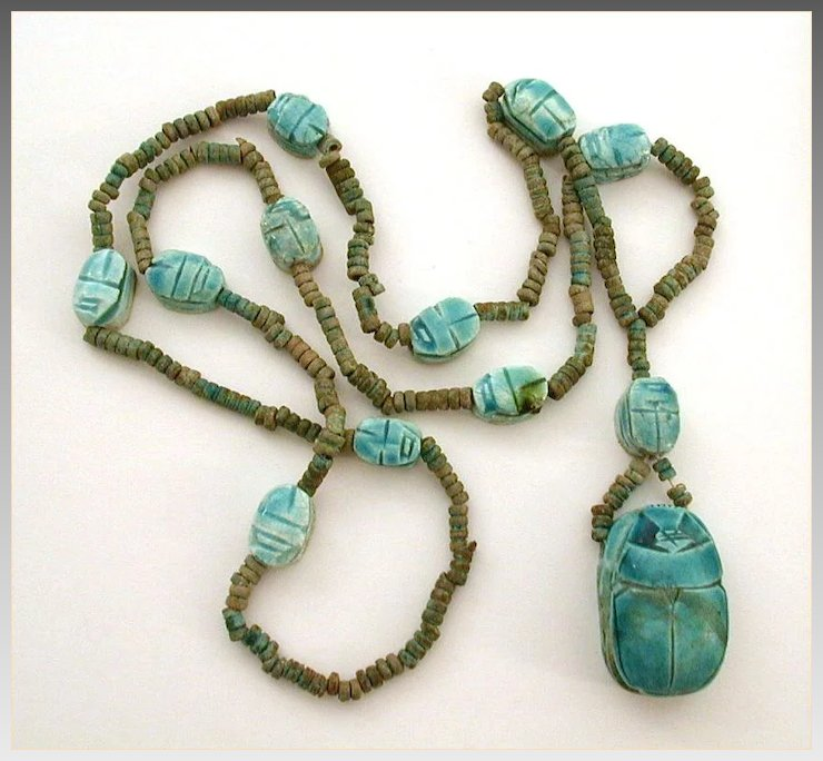 Egyptian revival faience scarab necklace clay beads egypt egyptian revival faience scarab necklace clay beads egypt aloadofball Choice Image