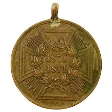 German Empire Franco-Prussian War Campaign Medal 1870-1871 Iron Cross Motif, Made From Conquered Cannon