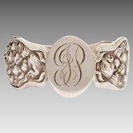 Unger Bros. Art Nouveau Sterling Napkin Ring Cupid's Nosegay Pattern