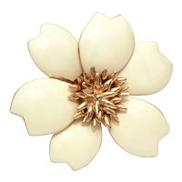 "CINER Enamel Pin Large Creamy Winter White Flower 2.4"""