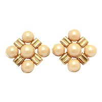 """Givenchy Earrings Large Faux Pearl & Gold Tone Clip Ons 2 x 2"""""""