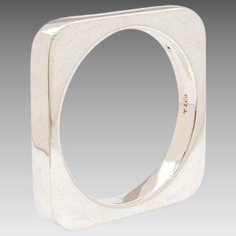 Tiffany & Co. Joachim S'Paliu Heavy Square Sterling Bangle Bracelet, Spanish Modernist Designer