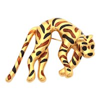 CINER Enamel Leopard Pin, Draped Wild Cat in Gold Tone with Brown and Black Stripes