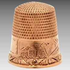 Antique 10k Solid Gold Thimble Engraved Village Scene Landscape by Stern Brothers