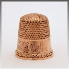 Antique 10k Gold Thimble Engraved Village Scene by Stern Brothers