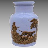 1856 Prattware Potted Meat Jar Hunting Scenes with Dogs Rabbits Pheasant
