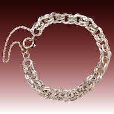 Square Wire Figure 8 Link Sterling Starter Charm Bracelet