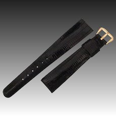 Black Lizagator Leather Watch Band by JB  - Gold Filled Buckle - Wristwatch Band 17.5 mm