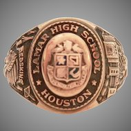 10k Lamar High School Houston Texas 10k Gold 1954 Class Ring Woman's Size 6 Honor Society and Redskins Mascot - Vintage Balfour