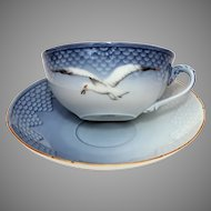 Bing & Grondahl Seagull Pattern #108 Gold Trim Low Profile Cup and Saucer