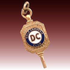 Dale Carnegie Club Fob Key Charm Pendant 10k Gold Enamel