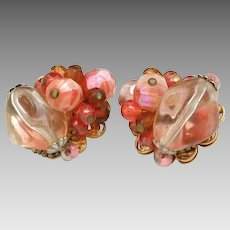 Vintage Original by Robert Mixed Orange Glass Bead Earrings - Delicious Candy Bead Clip Ons
