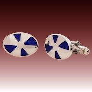 Sterling Blue Enamel Cufflinks Italy - Vintage Italian Silver Cuff Links with Champleve Glass Enamel