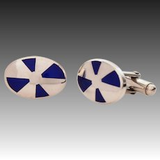 Sterling Blue Enamel Cufflinks Italy - Vintage Italian Silver Cuff Links with Champleve Glass Enamel