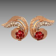 Vintage Marcel Boucher Clip-On Earrings Ruby Red & Colorless Pave Set Glass Rhinestones Dramatic Swoop Design