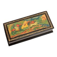Soviet Era Russian Lacquer Box Deer Hunt Scene from Mstera, Russia - Painting of Hunters on Horseback