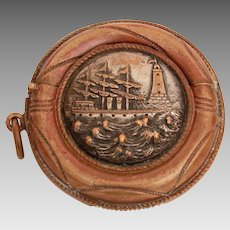 Antique Vesta Match Safe Round Novelty Life Preserver Ocean Scene Stormy Seas with Sailing Ship and Lighthouse
