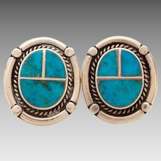 Turquoise Inlay Sterling Pierced Earrings Southwest Native American Indian Jewelry, Bold Graphic Design
