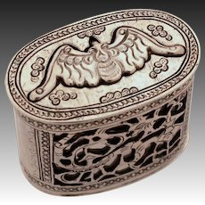 Antique Chinese Export Silver Bat Wax Seal, Opium, Snuff 3 Piece Box