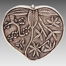 Antique Chinese Export Silver Opium Snuff Box Peach Raised Design Bamboo, Flowers, and Butterfly
