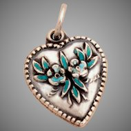 1940's Sterling Puffy Heart Charm Enameled Forget-Me-Not Flowers Vintage Bracelet Charm