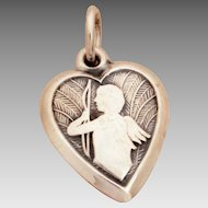 """1940's Cupid Silhouette on Feather Background Sterling Puffy Heart Bracelet Charm Engraved """"Stella"""""""