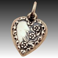 1940's Detailed Flowers Sterling Puffy Heart Bracelet Charm
