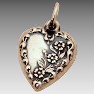 1940's Detailed Flowers Sterling Puffy Heart Bracelet Charm