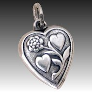 "Lover's Hearts & Sensuous Flower 1940's Sterling Puffy Heart Charm Engraved ""Mother"""