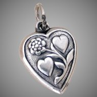 """Lover's Hearts & Sensuous Flower 1940's Sterling Puffy Heart Charm Engraved """"Mother"""""""