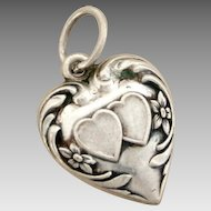 Double Hearts Vintage Sterling Puffy Heart Bracelet Charm Engraved Name Libby Lou