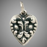 Raised Baroque Design on Sterling Puffy Heart Charm for Vintage Lovers Bracelet Engraved Name Joyce